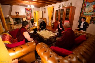(Left to right) Thaye Dorje, His Holiness the 17th Gyalwa Karmapa; Mayum Mrs Kunzang (Sangyumla's mother); Ms. Sonam Pema (Sangyumla's sister); Sangyumla Rinchen Yangzom; Jigme Rinpoche, Karmapa's General Secretary; Gendun Rinchen, Yangsi of Gendun Rinpoche