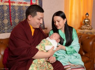 Thaye Dorje, His Holiness the 17th Gyalwa Karmapa, with his wife Sangyumla Rinchen Yangzom, and Thugsey (their son)