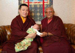 Thaye Dorje, His Holiness the 17th Gyalwa Karmapa, introduces Thugsey (his son) to Jigme Rinpoche, Karmapa's General Secretary