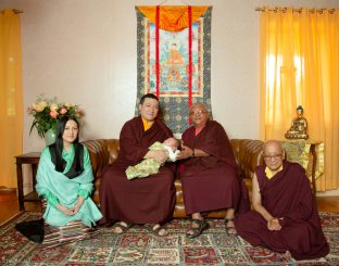 (Left to right) Sangyumla Rinchen Yangzom; Thaye Dorje, His Holiness the 17th Gyalwa Karmapa; Thugsey (their son); Jigme Rinpoche, Karmapa's General Secretary; Solponla Tsultrim Namgyal, Karmapa's Senior Attendant