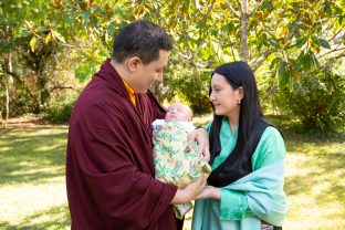 Thaye Dorje, His Holiness the 17th Gyalwa Karmapa, and Sangyumla Rinchen Yangzom, with Thugsey (their son)