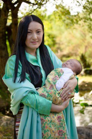 Sangyumla Rinchen Yangzom cradles Thugsey (her son)