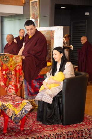 Thaye Dorje, His Holiness the 17th Gyalwa Karmapa, and Sangyumla Rinchen Yangzom, together with Thugsey (their son) at Dhagpo Kagyu Ling