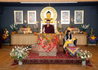 Thaye Dorje, His Holiness the 17th Gyalwa Karmapa, Sangyumla Rinchen Yangzom, and Thugsey (their son) at Dhagpo Kagyu Ling