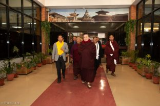 Mr Rabindra Prasad Adhikari, (Minister of Culture, Tourism and Civil Aviation in Nepal), Jigme Rinpoche (Karmapa's General Secretary), Thaye Dorje, His Holiness the 17th Gyalwa Karmapa, and Khenpo Gyaltsen (Abbot, Shar Minub Monastery, Sharminub Institute)