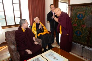 Thaye Dorje, His Holiness the 17th Gyalwa Karmapa, Master Shiah Jing Shan, and Solponla Tsultrim Namgyal, Karmapa's Senior Attendant
