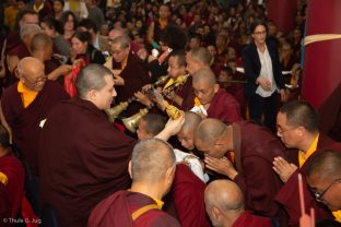 Karmapa grants the blessing with the ritual vase during the empowerment of Amitayus