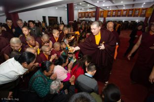 Karmapa blesses students during the empowerment