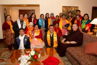 Rajendra Lal Manandhar, General Secretary of Karma Raja Maha Vihar and his family during the audience with Karmapa