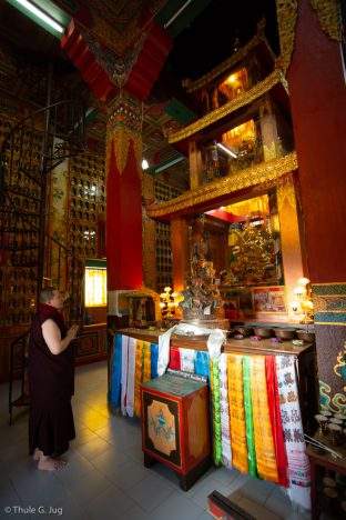 The shrine inside the stupa at Samten Phuntsok Ling, Tharig Rinpoche's Monastery and Retreat Centre, from the Sakya tradition, in Pharping