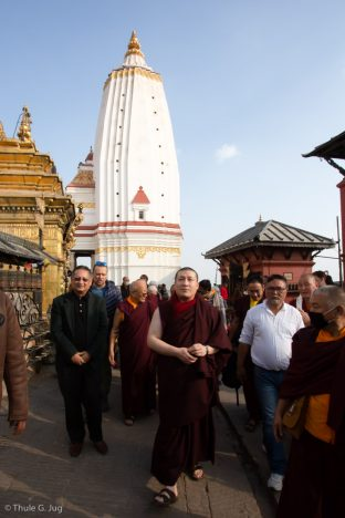 Karmapa visited Swayambhu, (Tibetan for 'Sublime Trees'), an ancient piece of Buddhist architecture on top of a tree-lined hill in the Kathmandu Valley.