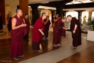 Karmapa is welcomed by Shangpa Rinpoche, Lodro Rinpoche, and Khenpo Lekshey