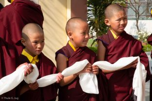 Young monks await Karmapa's arrival at KIBI