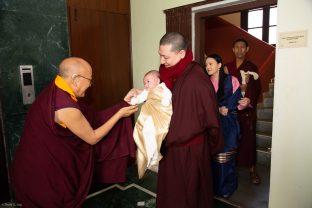 Solponla Tsultrim Namgyal, Karmapa's Senior Attendant, welcomes Thugsey to KIBI
