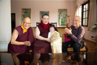 (Left to right:) Solponla Tsultrim Namgyal, Karmapa's Senior Attendant, Thaye Dorje, His Holiness the 17th Gyalwa Karmapa, Karmapa's son Thugsey, and Lama Ole