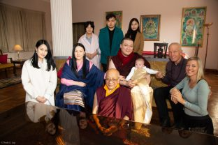 Sangyumla's mother Mrs Kunzang and some of her siblings join Solponla Tsultrim Namgyal, Karmapa's Senior Attendant, Thaye Dorje, His Holiness the 17th Gyalwa Karmapa, Karmapa's son Thugsey, Lama Ole and Anne Behrend