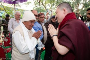 Thaye Dorje, His Holiness the 17th Gyalwa Karmapa, visits the Bodhi Tree School in Bodh Gaya