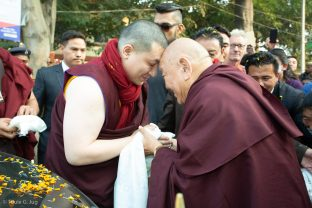 Thaye Dorje, His Holiness the 17th Gyalwa Karmapa, is greeted by His Eminence Beru Khyentse Rinpoche