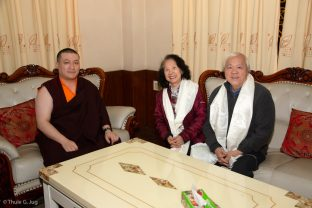 Thaye Dorje, His Holiness the 17th Gyalwa Karmapa, holds an audience with Sandy and Chris Yen