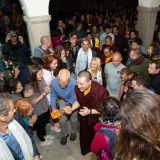 Thaye Dorje, His Holiness the 17th Gyalwa Karmapa, Sangyumla and their son Thugseyla arrive at the Europe Center in Germany.