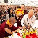Traditional welcome ceremony for Thaye Dorje, His Holiness the 17th Gyalwa Karmapa, and Thugseyla at the Europe Center in Germany.