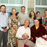 Thaye Dorje, His Holiness the 17th Gyalwa Karmapa, shares dinner with Lama Ole and guests at the Europe Center in Germany.