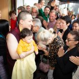 Students from Germany and around the world say goodbye as Thaye Dorje, His Holiness the 17th Gyalwa Karmapa, and his son Thugseyla leave the Europe Centre.