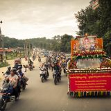 The motorcade in Kathmandu as Shamar Rinpoche's kudung arrives. Photo/Tokpa Korlo
