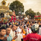 Crowds line the streets in Kathmandu as Shamar Rinpoche's kudung arrives. Photo/Tokpa Korlo
