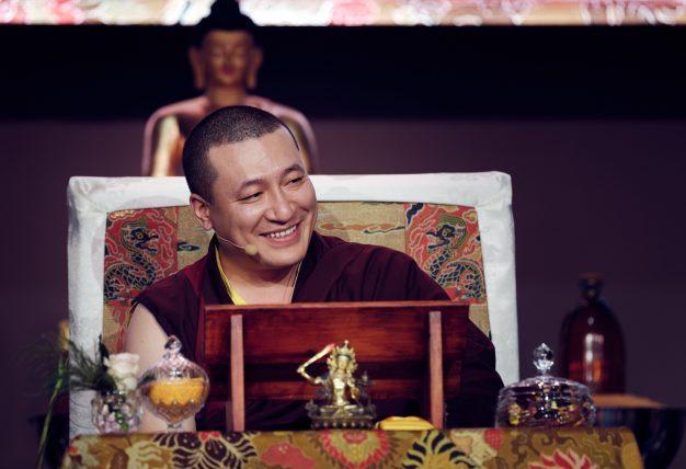 Day three in Dhagpo 2019: Thaye Dorje, His Holiness the 17th Gyalwa Karmapa, on the final day of his visit to Dhagpo Kagyu Ling. Photo / Tokpa Korlo