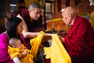 With humble appreciation, Karmapa receives the refuge name offered to Thugsey by His Eminence Luding Khenchen Rinpoche