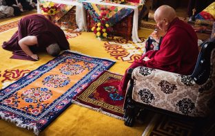 Thaye Dorje, His Holiness the 17th Gyalwa Karmapa, pays his respects to one of his most precious teachers, His Eminence Luding Khenchen Rinpoche, the 75th head of the Ngor tradition of the Sakya school of Tibetan Buddhism