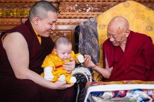 The hair-cutting ceremony of Thugsey was an historic, joyous, and an auspicious occasion, even more so due to the presence of such an authentic master as His Eminence Luding Khenchen Rinpoche