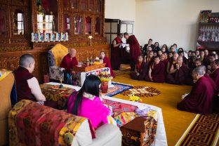 His Eminence Luding Khenchen Rinpoche, a pre-eminent spiritual master and lineage holder, in the shrine room at Karmapa International Buddhist Institute (KIBI)