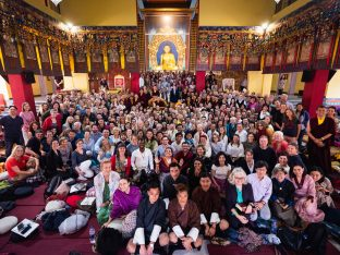 Group photo of teachers and students at the Karmapa Public Course 2019, KIBI, New Delhi, India