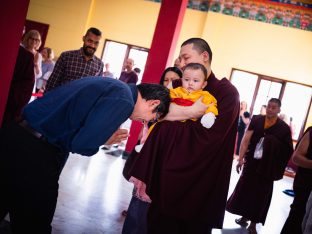 Thugsey and Karmapa are greeted with great affection by students from around the world who gathered for the annual Karmapa Public Course at KIBI