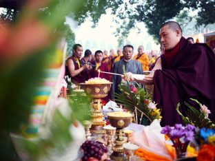 Thaye Dorje, His Holiness the 17th Gyalwa Karmapa, presides over prayers on the opening day of the Kagyu Monlam in Bodh Gaya, India, in December 2019 (Photo/Tokpa Korlo)