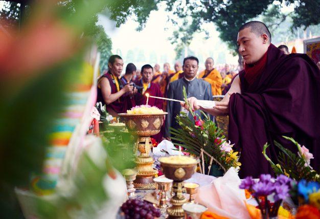 Thaye Dorje, His Holiness the 17th Gyalwa Karmapa, presides over prayers on the opening day of the Kagyu Monlam in Bodh Gaya, India, in December 2019 (Photo/Tokpa Korlo)