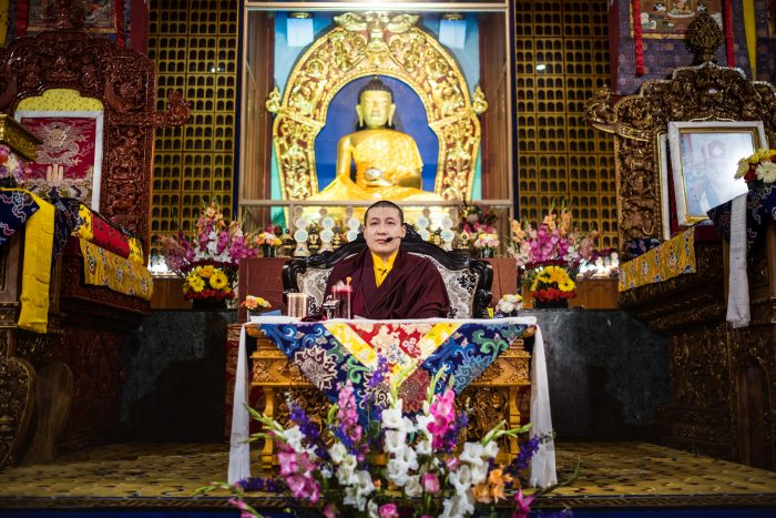 Thaye Dorje, His Holiness the 17th Gyalwa Karmapa, teaching at KIBI (Photo/Tokpa Korlo)
