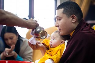 As Karmapa's family entered the temple, there were offerings of mandala, ku sung thug, tea and rice.