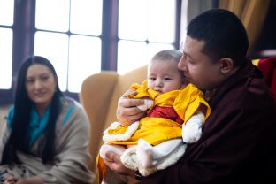 Thaye Dorje, His Holiness the 17th Gyalwa Karmapa, and his wife Sangyumla Rinchen Yangzom, together with their baby son Thugsey