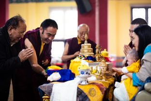 There was a tangible sense of joy and excitement as Sangyumla and Thugsey joined Karmapa at the Public Meditation Course at KIBI