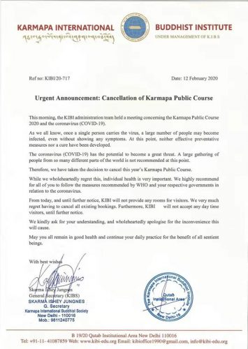 Cancellation of Karmapa Public Course