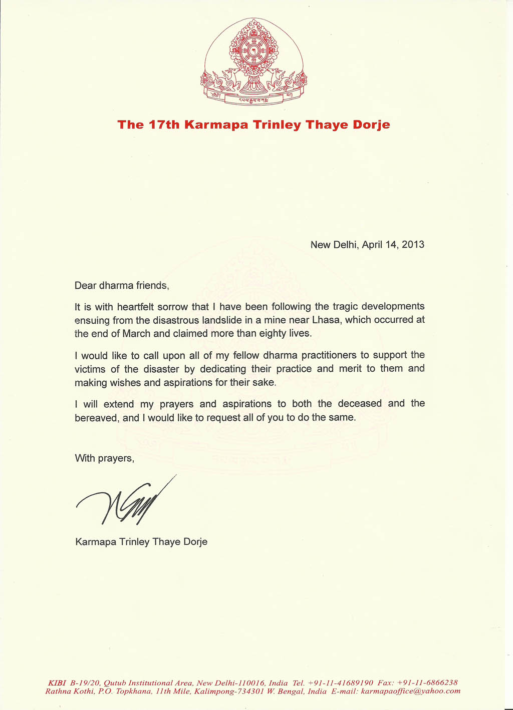 thank you letter for mipham rinpoche letter on recent natural