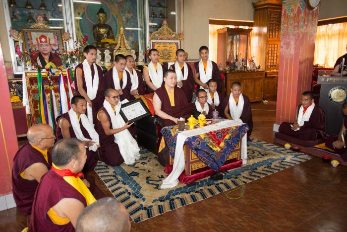 Ceremony at Diwakar Buddhist Academy - Thaye Dorje, His Holiness the 17th Gyalwa Karmapa, thanked the students, and gave the oral transmission (Tib. lung) of Manjusri, the Buddha of Wisdom. Photo / Magda Jungowska