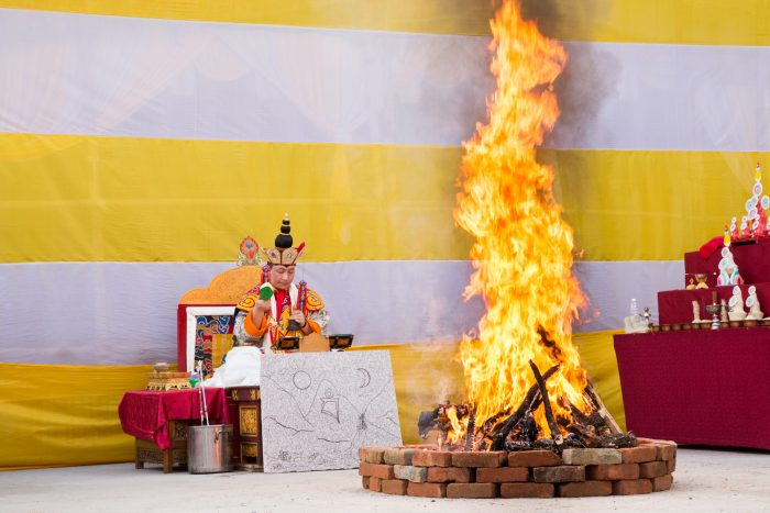 Thaye Dorje, His Holiness the 17th Gyalwa Karmapa, leading the fire puja during the 3rd anniversary of the parinirvana of His Holiness Kunzig Shamar Rinpoche. Photo / Magda Jungoska