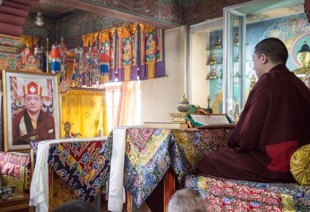 Thaye Dorje, His Holiness the 17th Gyalwa Karmapa, leading the Gyalwa Gyamtso puja to commemorate the 3rd anniversary of the parinirvana of His Holiness Kunzig Shamar Rinpoche. Photo / Magda Jungoska