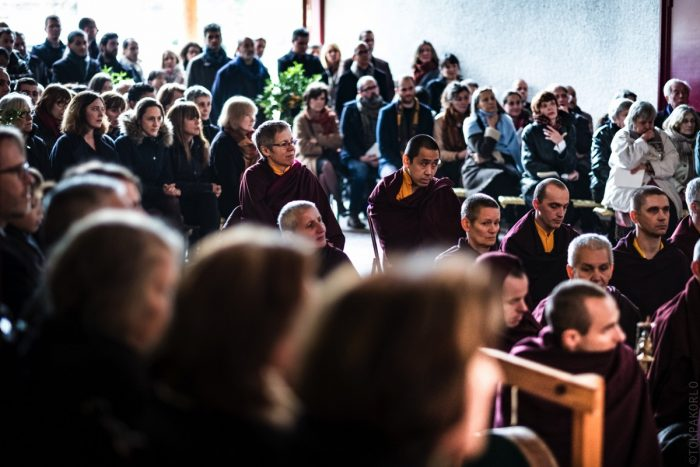 A large number of the monastic and lay sangha gathered at the Pagoda
