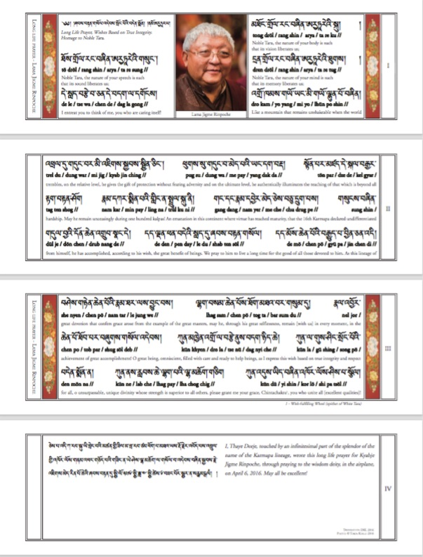 Long life prayer for Lama Jigme Rinpoche