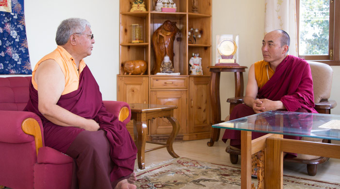 Jigme Rinpoche receives visitors. Photo/Norbu Zangpo